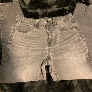 Dark gray distressed skinny jeans